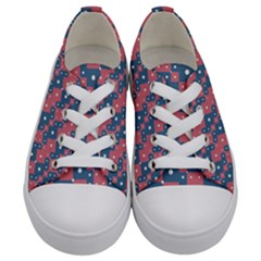 Squares And Circles Motif Geometric Pattern Kids  Low Top Canvas Sneakers