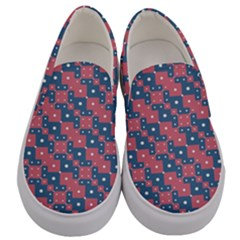 Squares And Circles Motif Geometric Pattern Men s Canvas Slip Ons