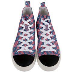 Squares And Circles Motif Geometric Pattern Men s Mid Top Canvas Sneakers