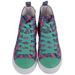 Squares And Circles Motif Geometric Pattern Women s Mid Top Canvas Sneakers