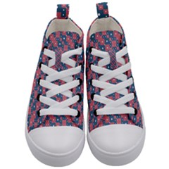 Squares And Circles Motif Geometric Pattern Kid s Mid Top Canvas Sneakers
