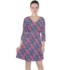 Squares And Circles Motif Geometric Pattern Ruffle Dress