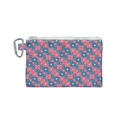 Squares And Circles Motif Geometric Pattern Canvas Cosmetic Bag (small)