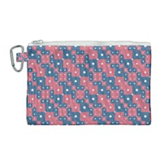 Squares And Circles Motif Geometric Pattern Canvas Cosmetic Bag (large)