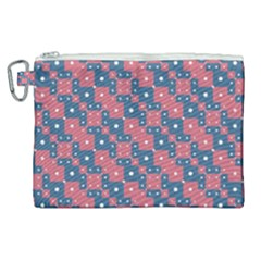 Squares And Circles Motif Geometric Pattern Canvas Cosmetic Bag (xl)