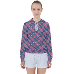 Squares And Circles Motif Geometric Pattern Women s Tie Up Sweat