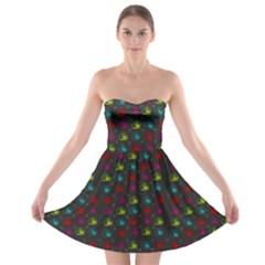 Roses Raining For Love  In Pop Art Strapless Bra Top Dress