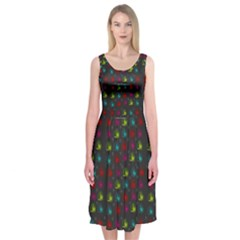 Roses Raining For Love  In Pop Art Midi Sleeveless Dress
