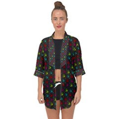 Roses Raining For Love  In Pop Art Open Front Chiffon Kimono