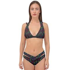 Roses Raining For Love  In Pop Art Double Strap Halter Bikini Set