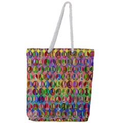 Peace Sign Full Print Rope Handle Tote (large)