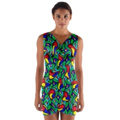 Colorful 4 1 Wrap Front Bodycon Dress