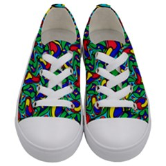 Colorful 4 1 Kids  Low Top Canvas Sneakers