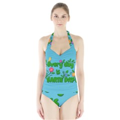 Earth Day Halter Swimsuit