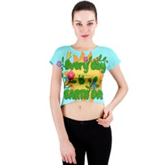 Earth Day Crew Neck Crop Top