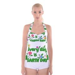 Earth Day Boyleg Halter Swimsuit