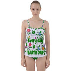 Earth Day Twist Front Tankini Set