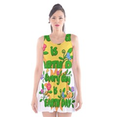 Earth Day Scoop Neck Skater Dress