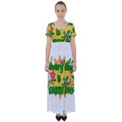 Earth Day High Waist Short Sleeve Maxi Dress