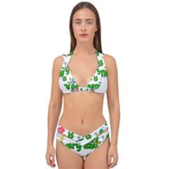 Earth Day Double Strap Halter Bikini Set
