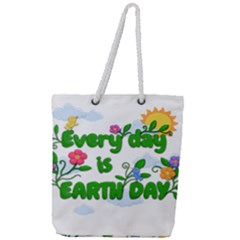 Earth Day Full Print Rope Handle Tote (large)