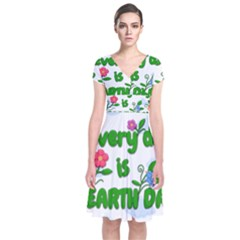 Earth Day Short Sleeve Front Wrap Dress