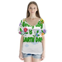 Earth Day V Neck Flutter Sleeve Top