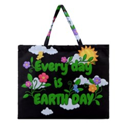 Earth Day Zipper Large Tote Bag