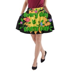 Earth Day A Line Pocket Skirt