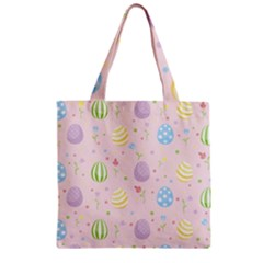 Easter Pattern Zipper Grocery Tote Bag