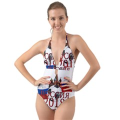 Russia Football World Cup Halter Cut Out One Piece Swimsuit