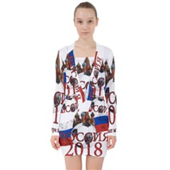 Russia Football World Cup V Neck Bodycon Long Sleeve Dress
