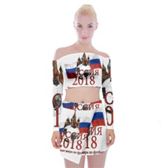 Russia Football World Cup Off Shoulder Top With Mini Skirt Set