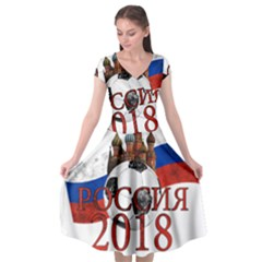 Russia Football World Cup Cap Sleeve Wrap Front Dress