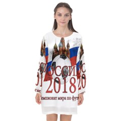 Russia Football World Cup Long Sleeve Chiffon Shift Dress