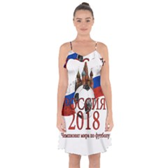 Russia Football World Cup Ruffle Detail Chiffon Dress