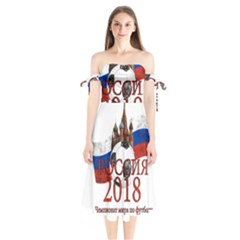 Russia Football World Cup Shoulder Tie Bardot Midi Dress