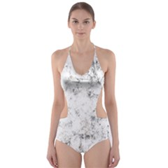 Grunge Pattern Cut Out One Piece Swimsuit