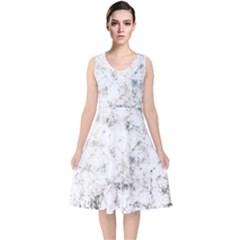 Grunge Pattern V Neck Midi Sleeveless Dress