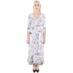 Grunge Pattern Quarter Sleeve Wrap Maxi Dress