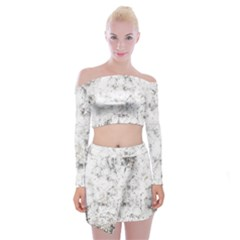 Grunge Pattern Off Shoulder Top With Mini Skirt Set