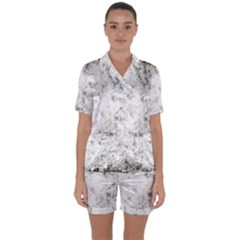 Grunge Pattern Satin Short Sleeve Pyjamas Set