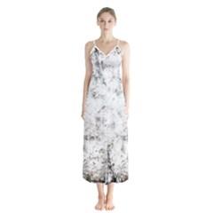 Grunge Pattern Button Up Chiffon Maxi Dress