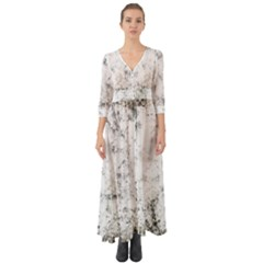 Grunge Pattern Button Up Boho Maxi Dress