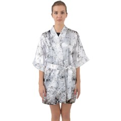Grunge Pattern Quarter Sleeve Kimono Robe