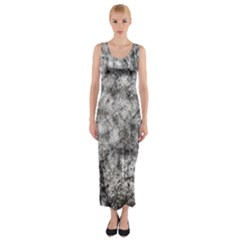 Grunge Pattern Fitted Maxi Dress
