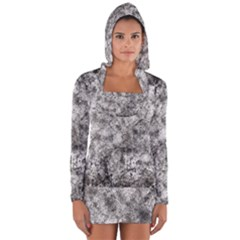 Grunge Pattern Long Sleeve Hooded T Shirt