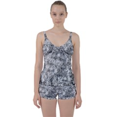 Grunge Pattern Tie Front Two Piece Tankini
