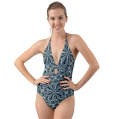 Modern Oriental Ornate Pattern Halter Cut Out One Piece Swimsuit