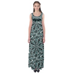 Modern Oriental Ornate Pattern Empire Waist Maxi Dress